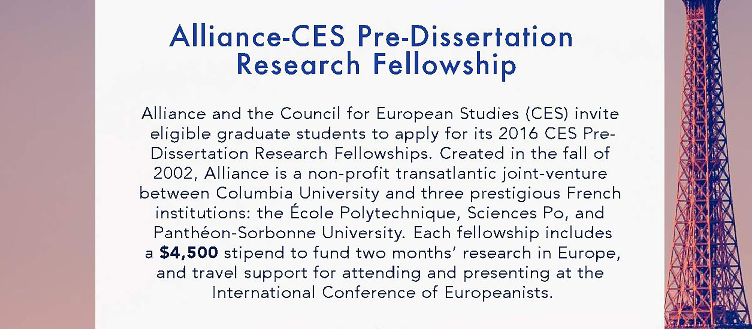 Ces pre dissertation research fellowships