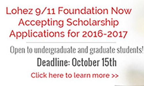 Call 2016 - Lohez 9/11 Foundation Scholarship poster